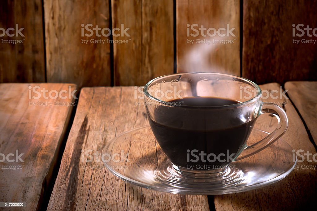 coffee glass on wooden table. stock photo