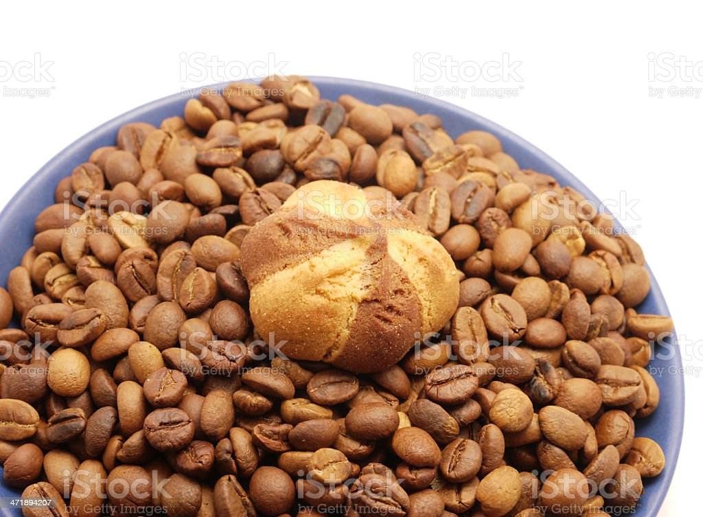 Coffee grains and cookies royalty-free stock photo