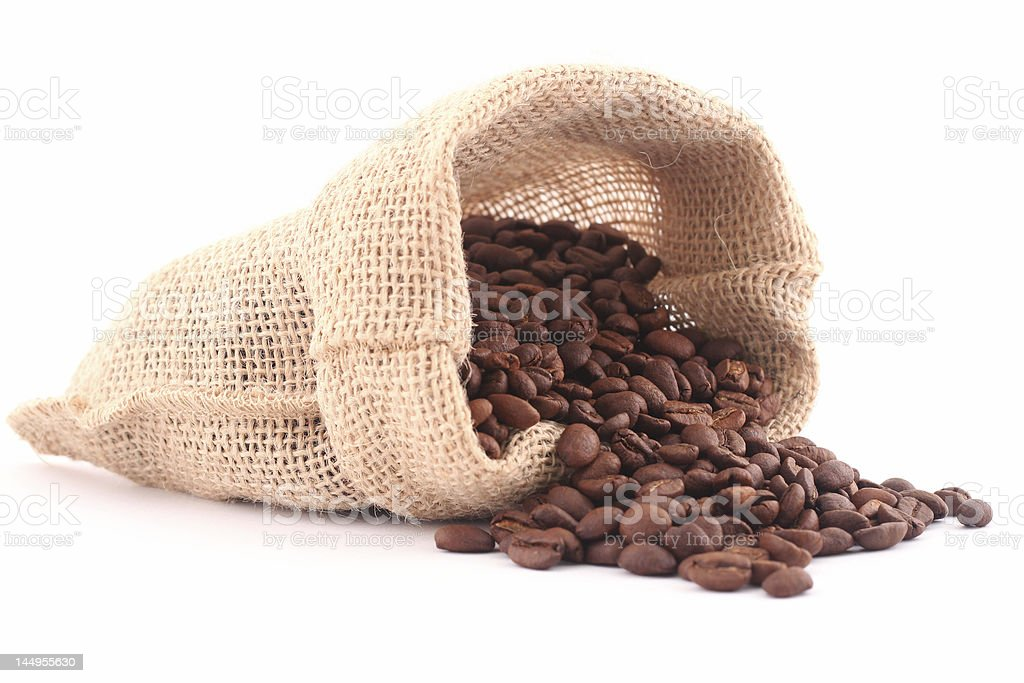 Coffee grains isolated on white stock photo