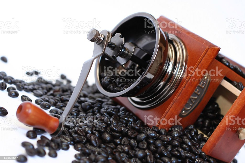 'Coffee grinder and beans', isolated royalty-free stock photo
