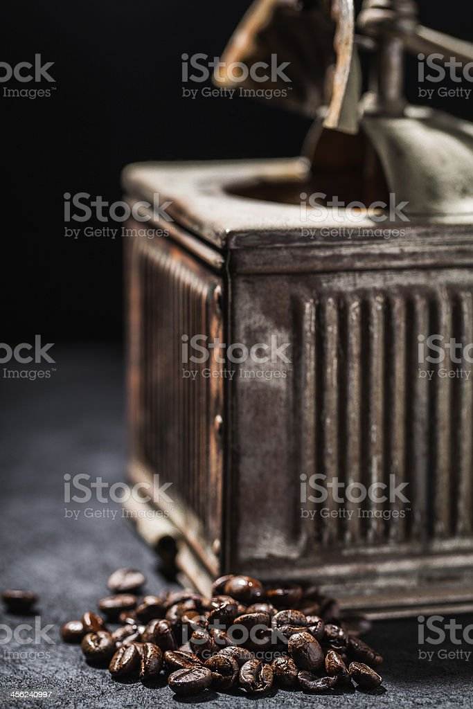 coffee grinder and beans royalty-free stock photo