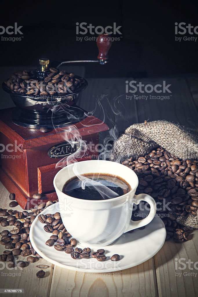 Coffee Grinder and beans with sack royalty-free stock photo