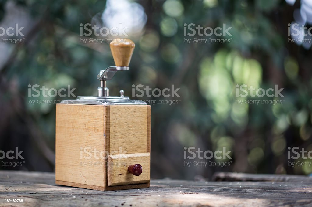Coffee grinder and coffee beans stock photo