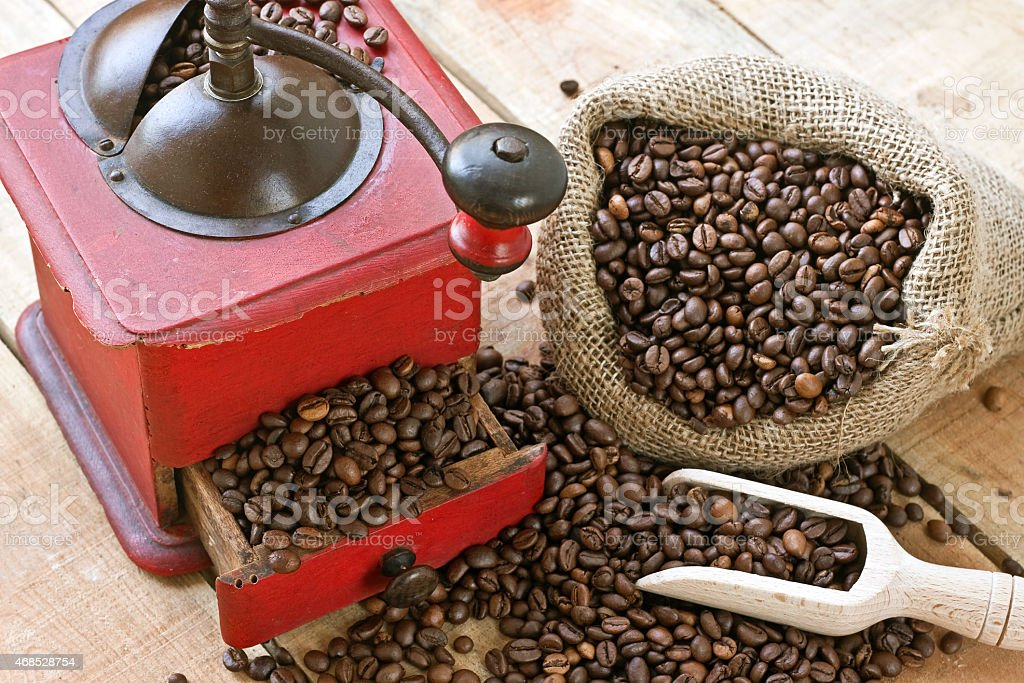coffee grinder on background stock photo