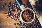 Coffee Ground in Portafilter for Espresso