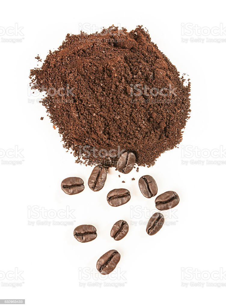 Coffee Grounds and Beans on White Background stock photo