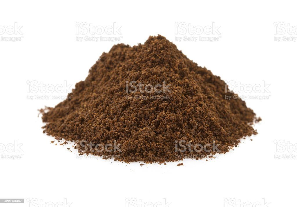 coffee grounds on white background stock photo