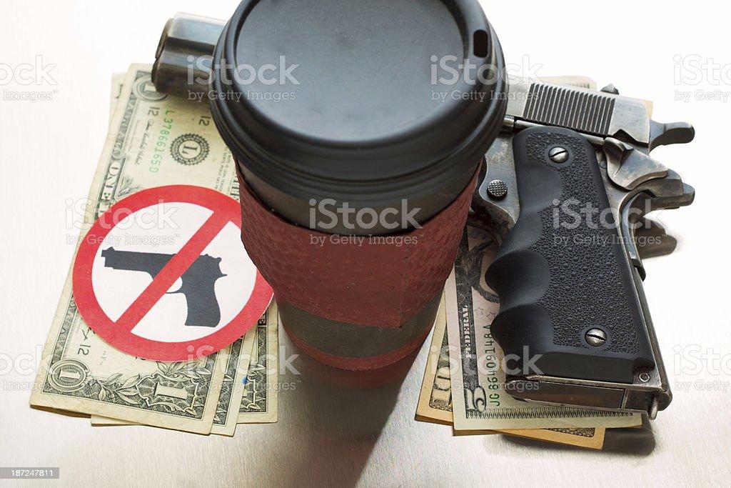 Coffee, Guns and Money stock photo