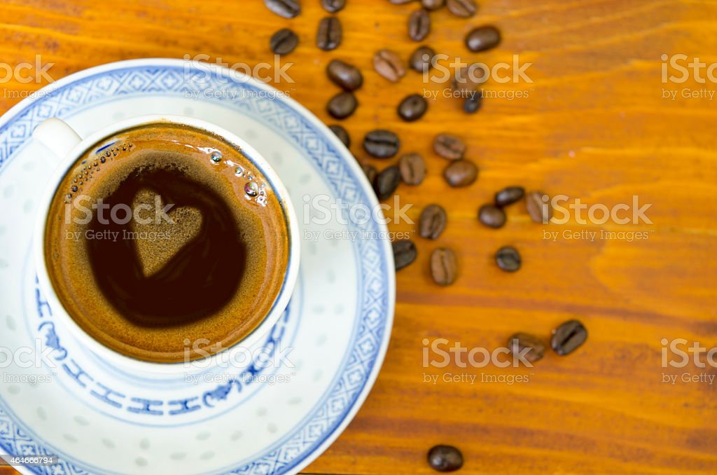 Coffee heart in a cup of coffee royalty-free stock photo