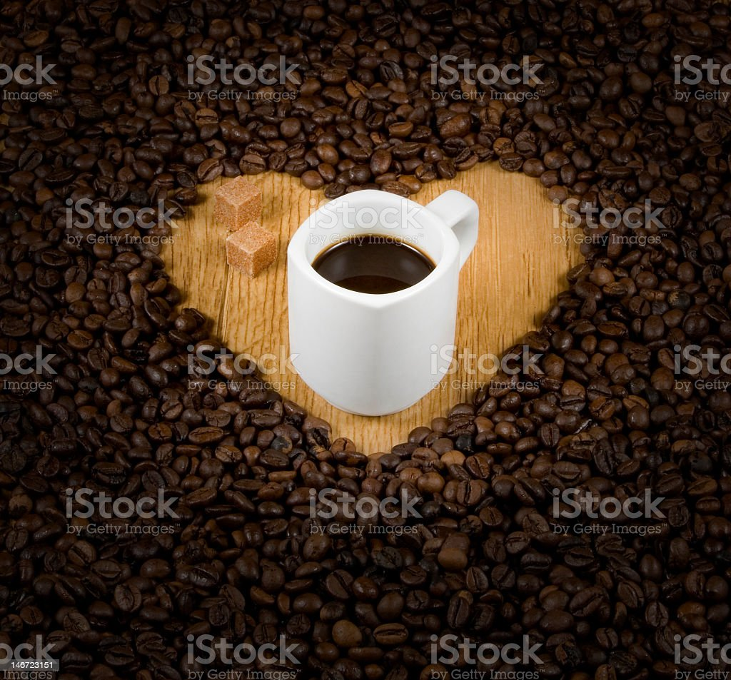 Coffee heart with cup royalty-free stock photo
