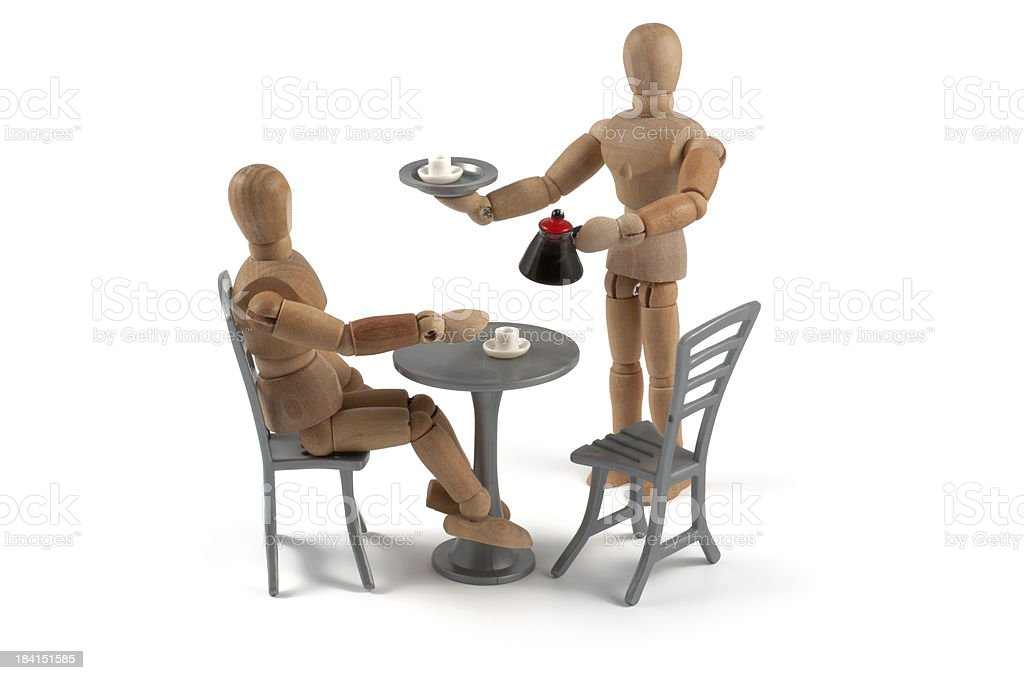 Coffee house - wooden mannequin with waitress stock photo