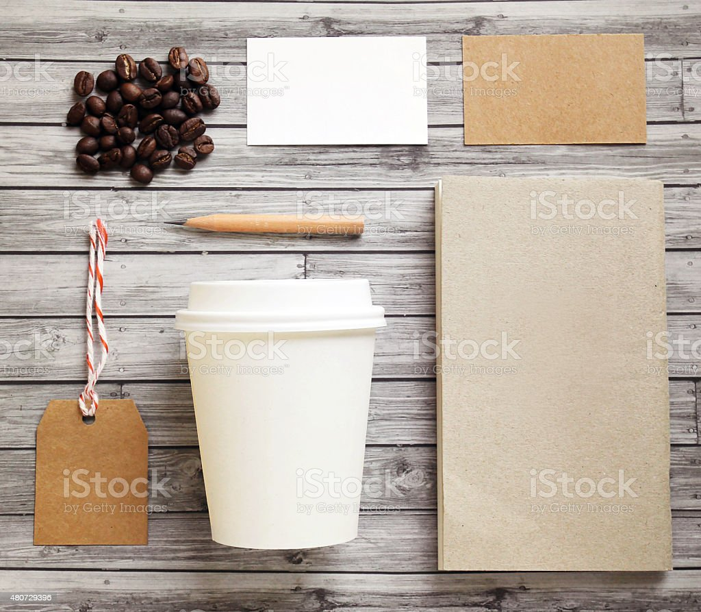 Coffee identity branding mockup set stock photo