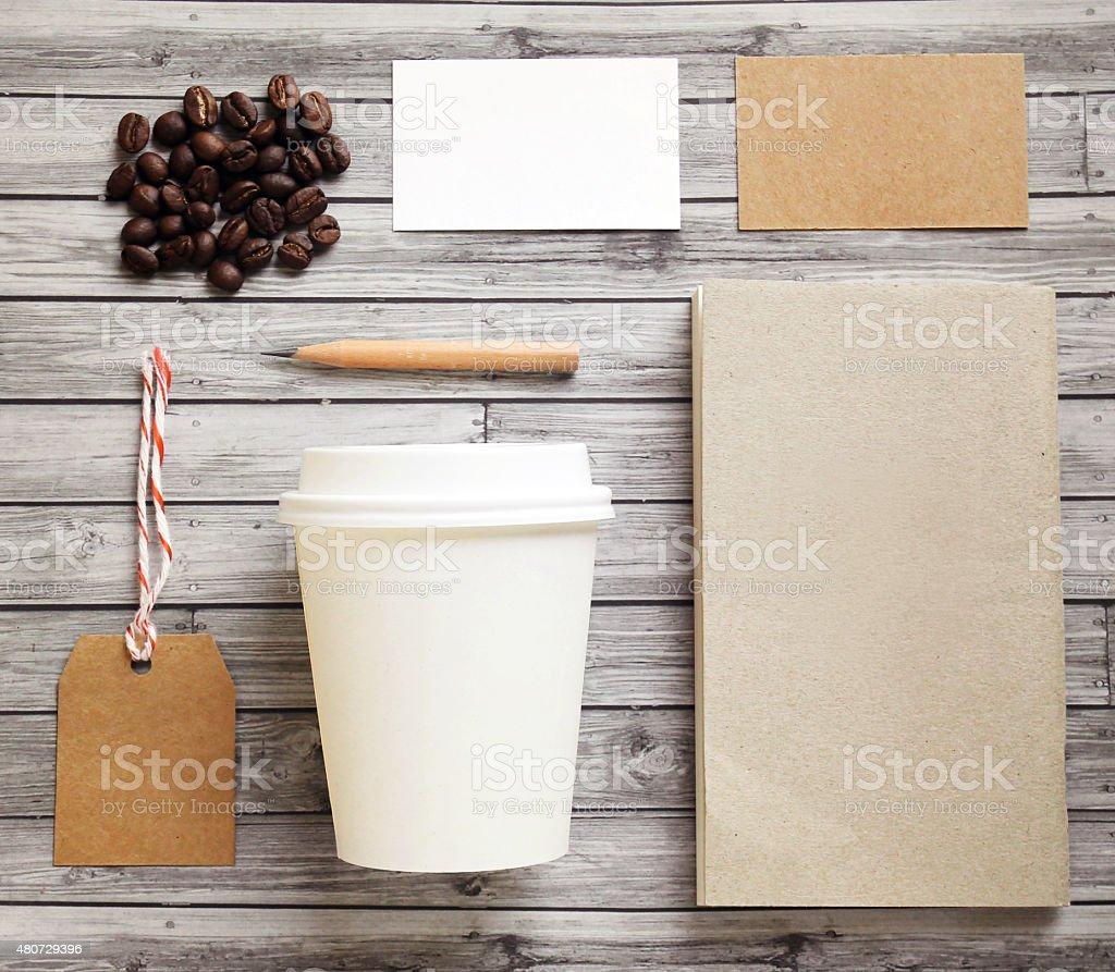 Coffee identity branding mockup set stock photo