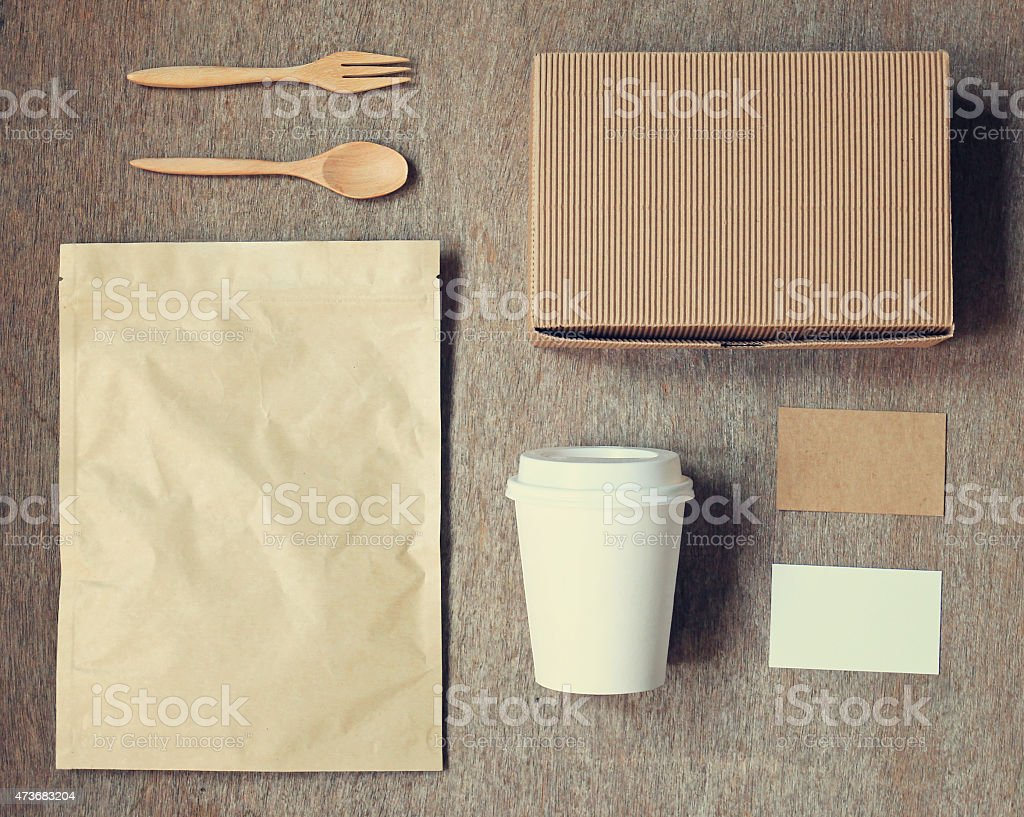 Coffee identity branding mockup set top view stock photo
