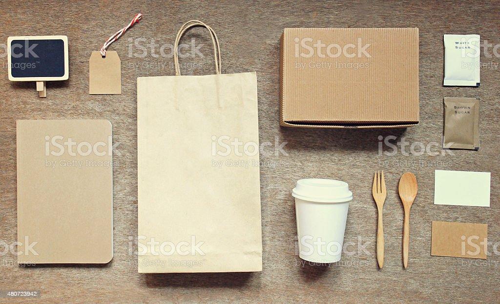 Coffee identity branding mockup set top view stock photo
