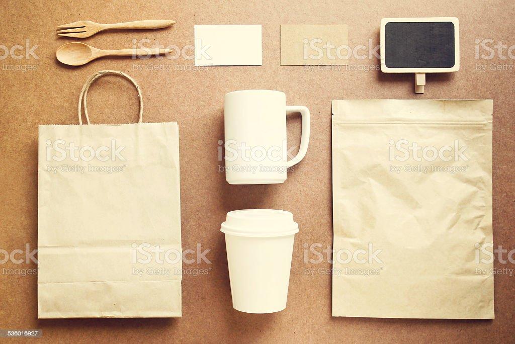 Coffee identity branding mockup set with retro filter effect stock photo