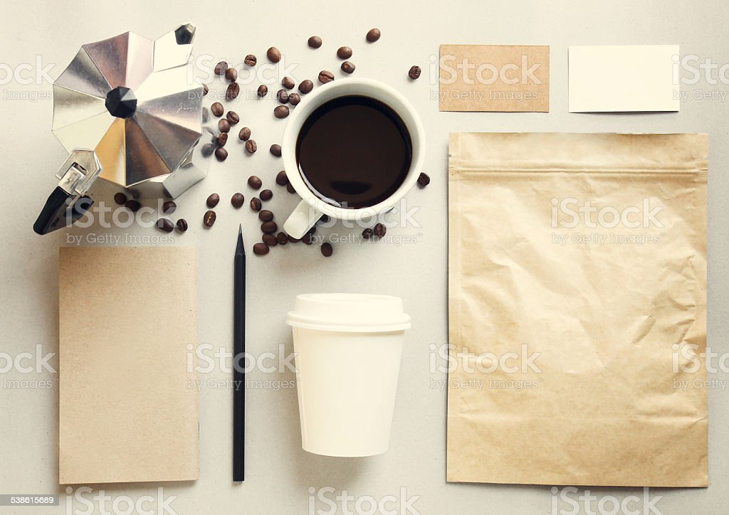 Coffee identity branding mockup set with retro filter effect stock photo