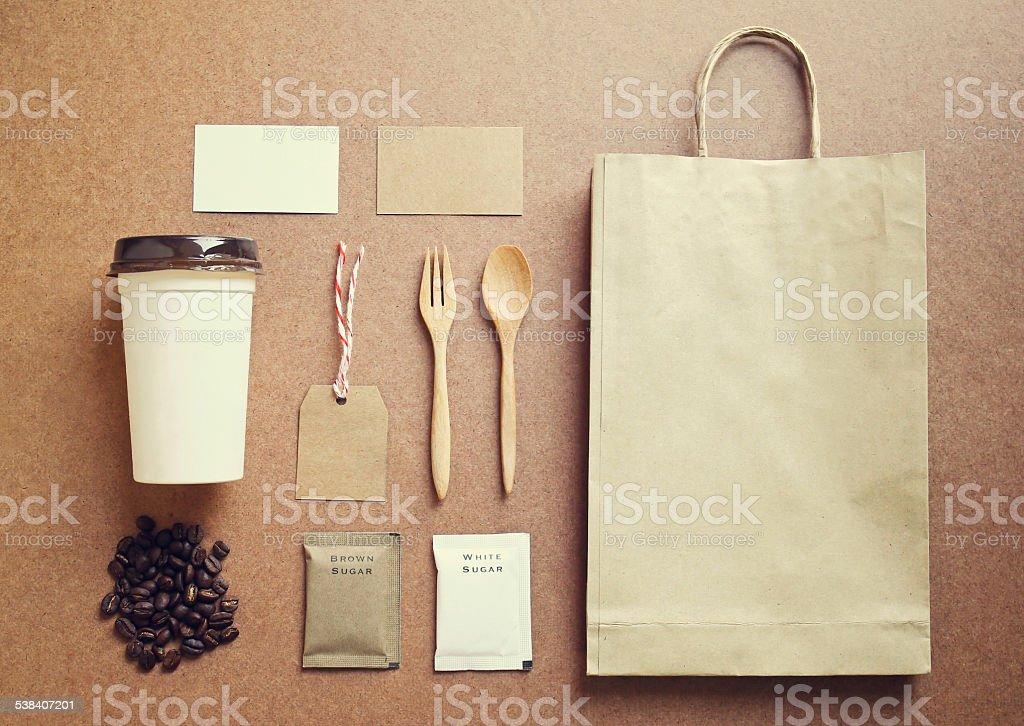 Coffee identity mockup set with retro filter effect stock photo