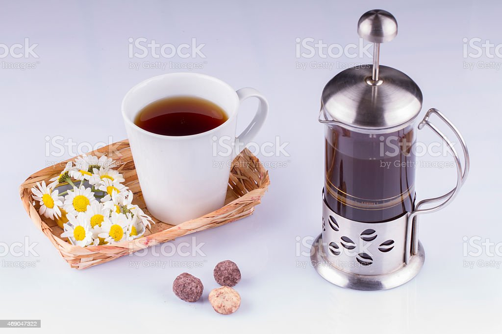 Coffee in a French Press On White Background stock photo