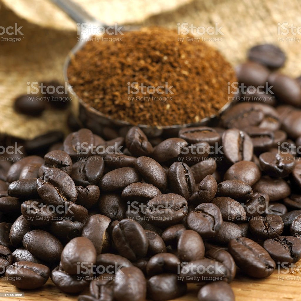 Coffee in beans and ground royalty-free stock photo