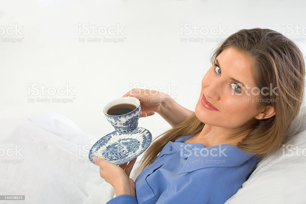 Coffee in bed royalty-free stock photo