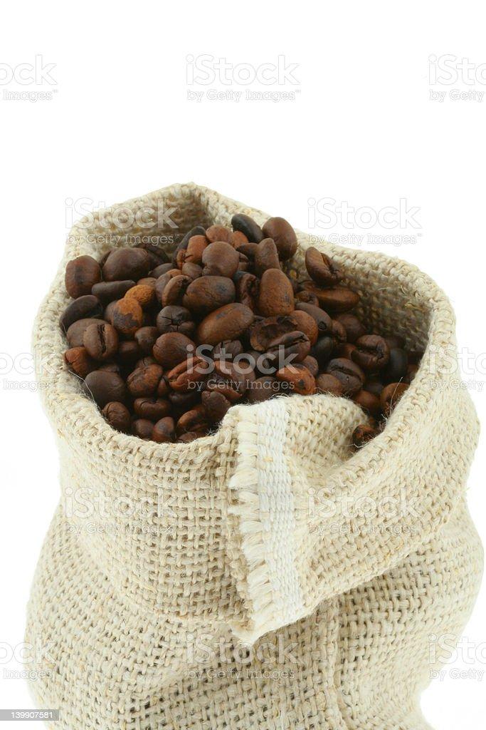 coffee in burlap sack royalty-free stock photo