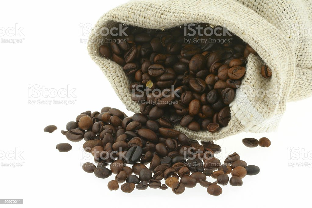 coffee in burlap sack royalty-free stock photo