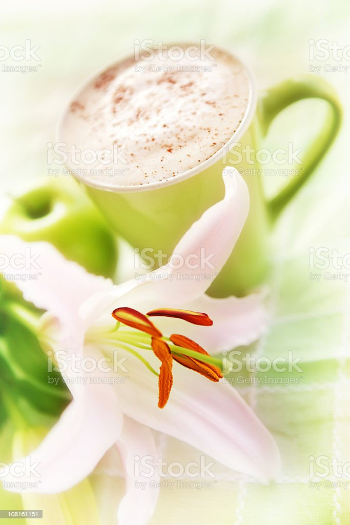 Coffee in Cup with Flower royalty-free stock photo