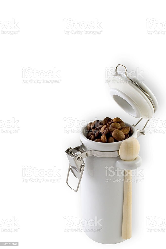Coffee in Little White Canister Isolated royalty-free stock photo