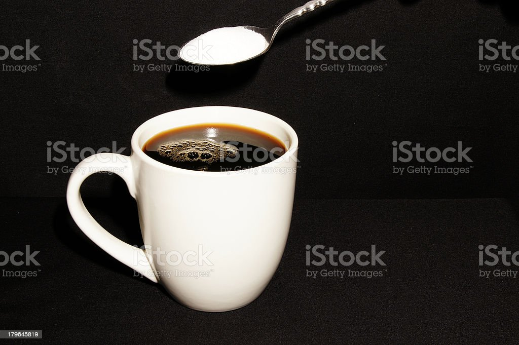 Coffee in Mug and Spoon With Sugar royalty-free stock photo