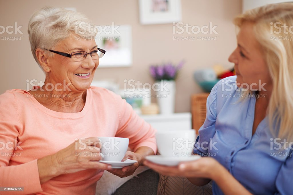 Coffee in my mother's house taste the best stock photo