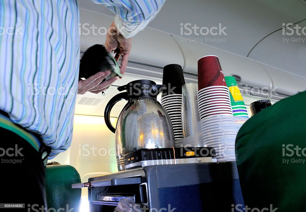 Coffee in the airplane stock photo
