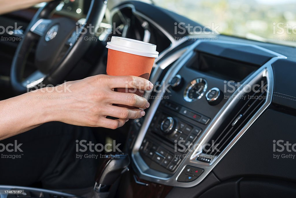 Coffee in the car royalty-free stock photo