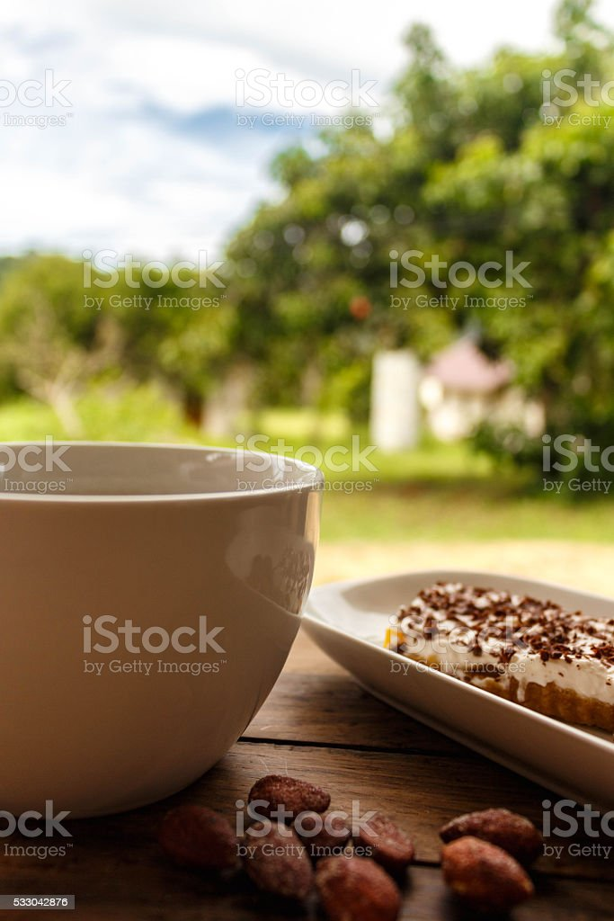 coffee in the fresh air with beautiful views all around stock photo