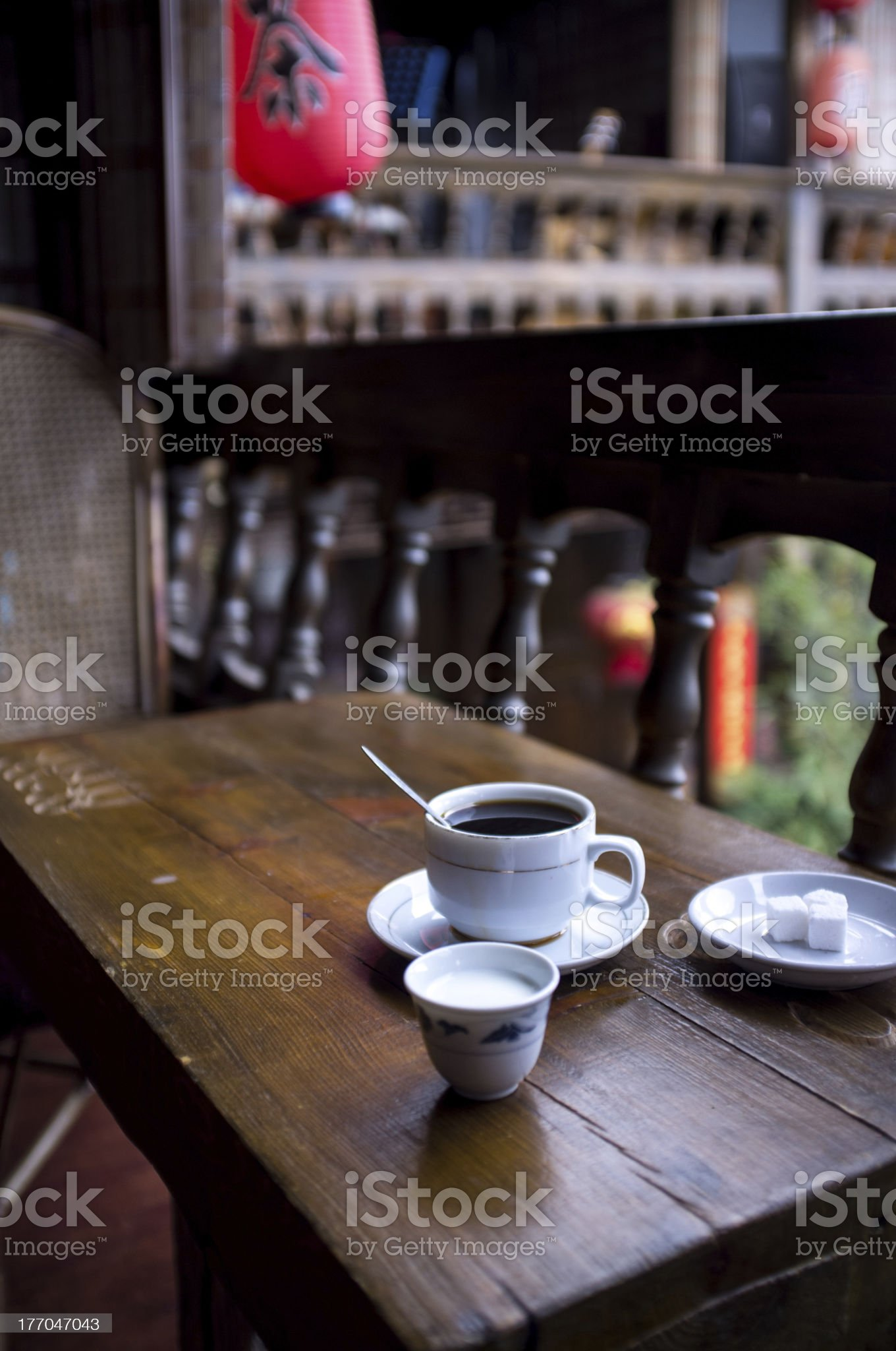 Coffee in traditional chinese cafe royalty-free stock photo