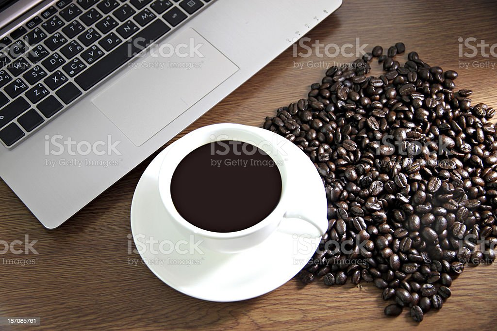 Coffee in white cup and see the Computers. royalty-free stock photo
