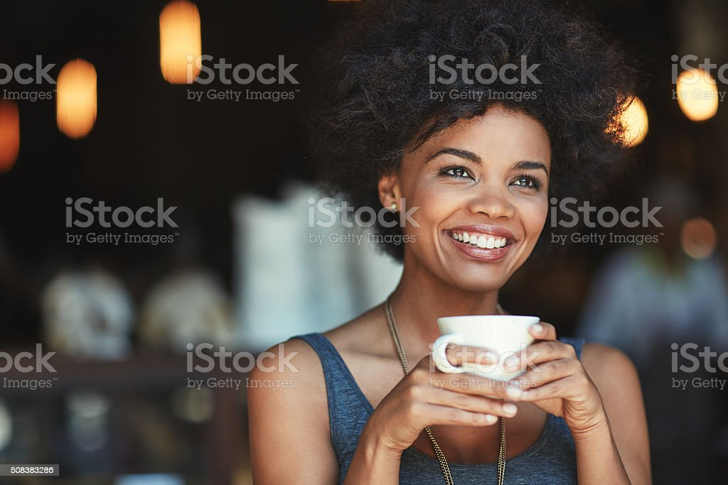 Coffee is a great way to start the day stock photo