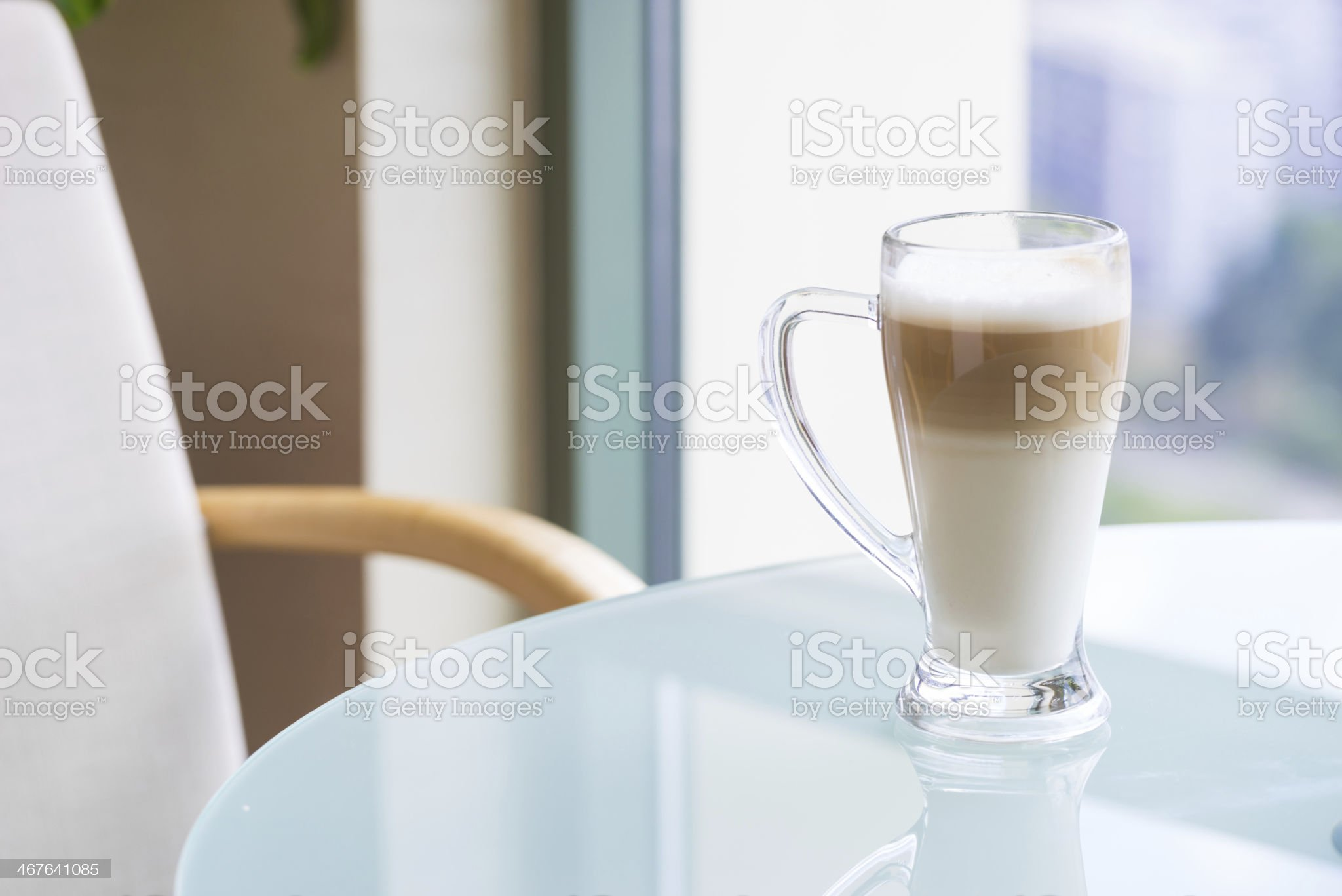 Coffee Latte Cappuccino in a tall glass royalty-free stock photo