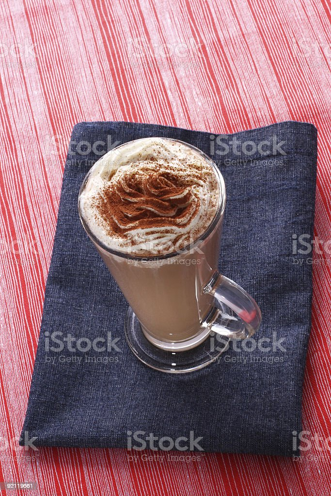 coffee latte cappucino  on the red and blue tea towels royalty-free stock photo