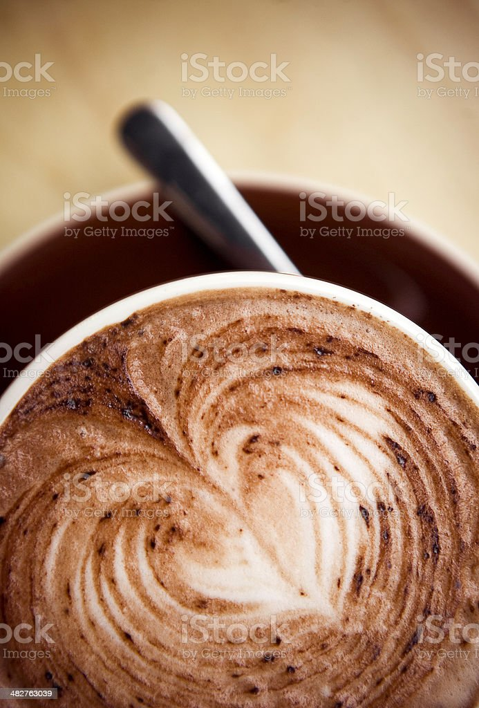 Coffee Latte Heart with Copy Space royalty-free stock photo