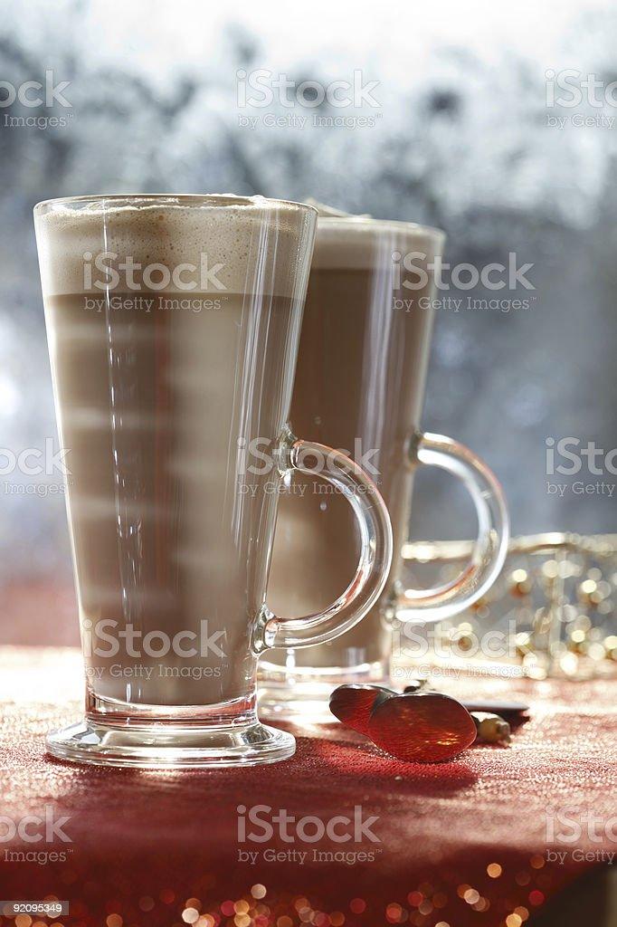 coffee latte macchiato  in glasses on festive backdrop royalty-free stock photo