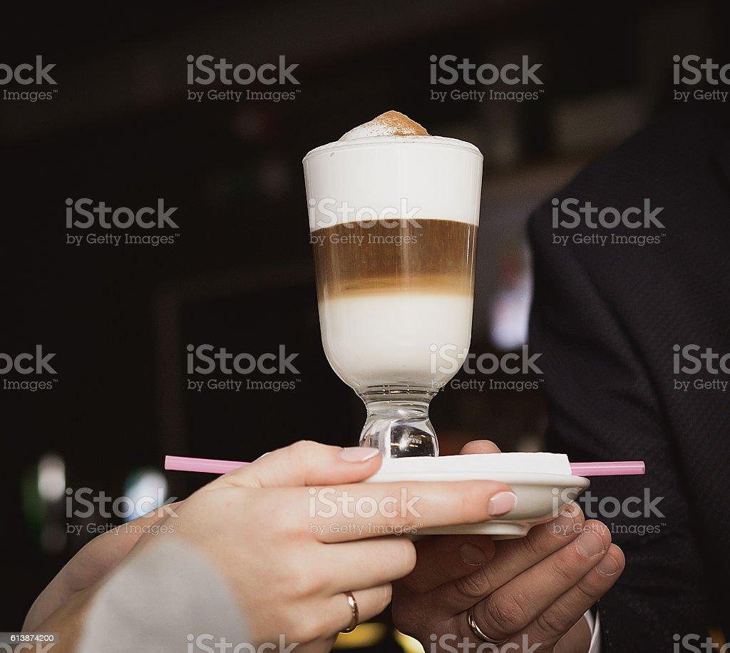 coffee latte macchiato stock photo