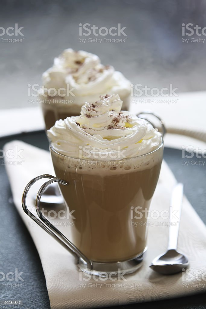 coffee latte macchiato with cream in glasses royalty-free stock photo