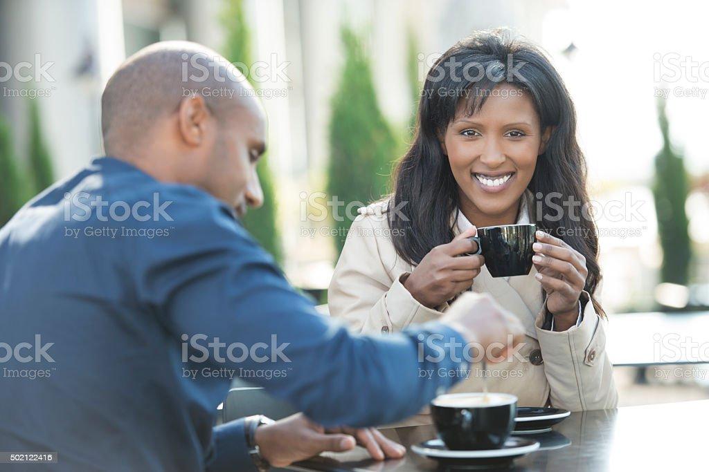 Coffee lifestyle couple. stock photo