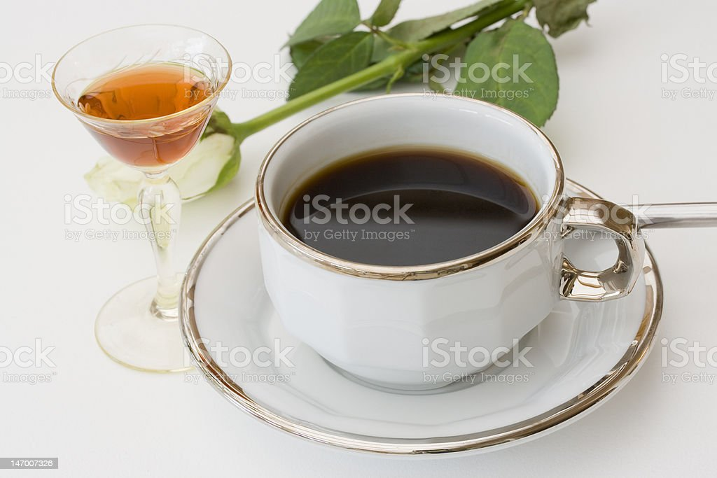 Coffee, Liqueur and a rose royalty-free stock photo