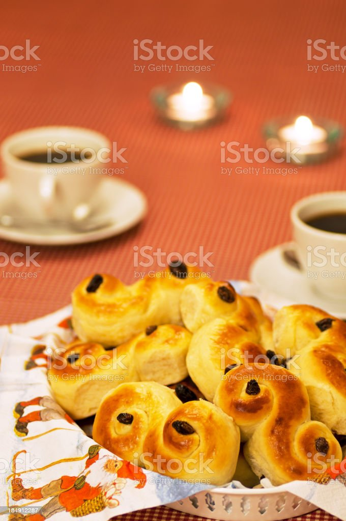 Coffee, Lucia Saffron Buns and candles stock photo