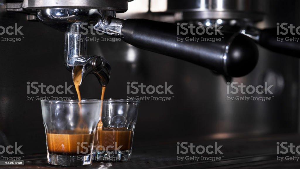 Coffee machine do hot espresso stock photo