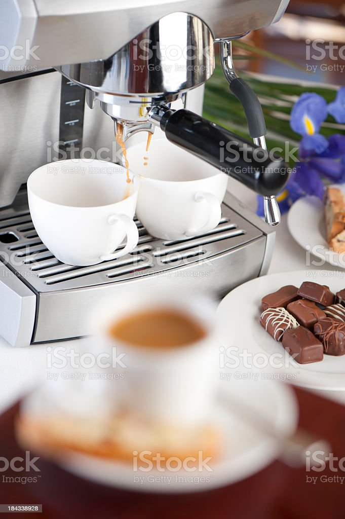Coffee machine filling 2 cups royalty-free stock photo