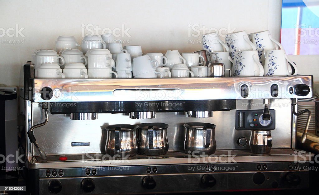coffee machine in a bar on a cruise ship stock photo