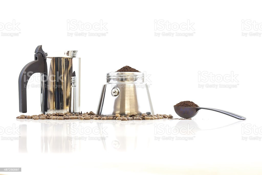 Coffee maker percolater, beans and coffee stock photo